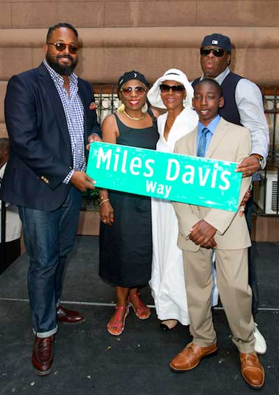 Members of Miles Davis' family at the dedication of Miles Davis Way, NYC, May 26, 2014 Earl Gibson